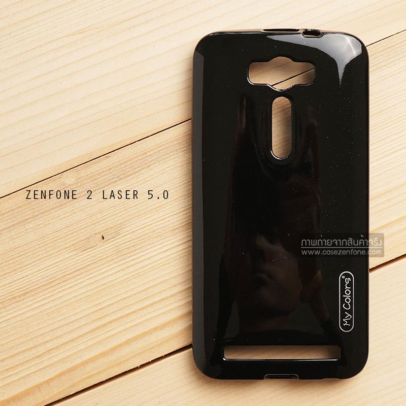 """เคส Zenfone 2 Laser 5.0"""" (ZE500KL) เคสนิ่มผิวเงา (MY COLORS) สีดำ"""