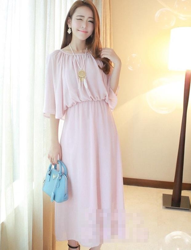 ชุดเดรสยาวแฟชั่นเกาหลี สีชมพู ผ้าชีฟอง ผ่าไหล่เก๋ๆ เป็ชุดเดรสสวยหวาน น่ารัก ดูเรียบร้อย สามารถใส่ออกงาน ไปงานแต่งงานได้ ( S M L XL )