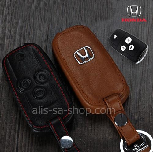 ซองหนังแท้ ใส่กุญแจรีโมทรถยนต์ Honda Civic FB,Accord G8 รุ่นโลโก้ H-เงิน พับข้าง 3 ปุ่ม