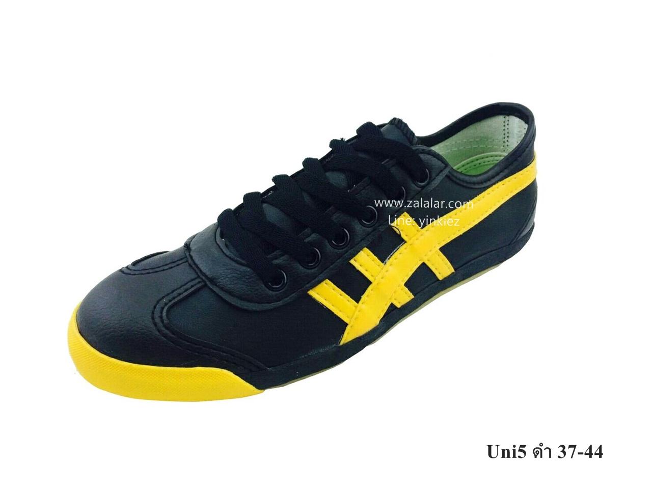 [พร้อมส่ง] รองเท้าผ้าใบแฟชั่น รุ่น Uni5 สีดำ แบบหนัง
