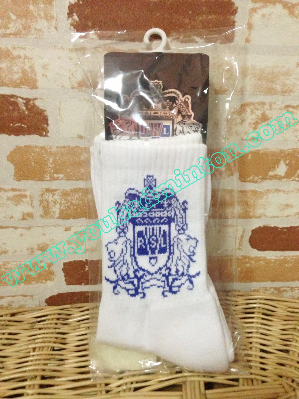(Code 02) ถุงเท้า RSL สีขาวลายน้ำเงิน เนื้อหนาอย่างดีนุ่มใส่กระชับสบายเท้ามากๆๆ