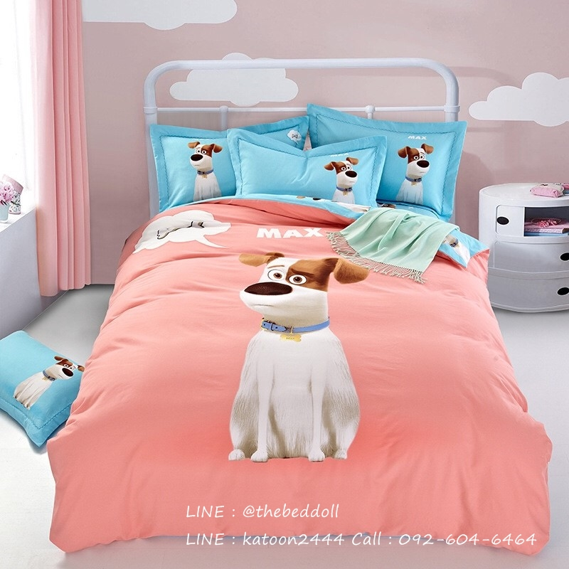ผ้าปูที่นอนลายหมา 3D สีชมพู-ฟ้า