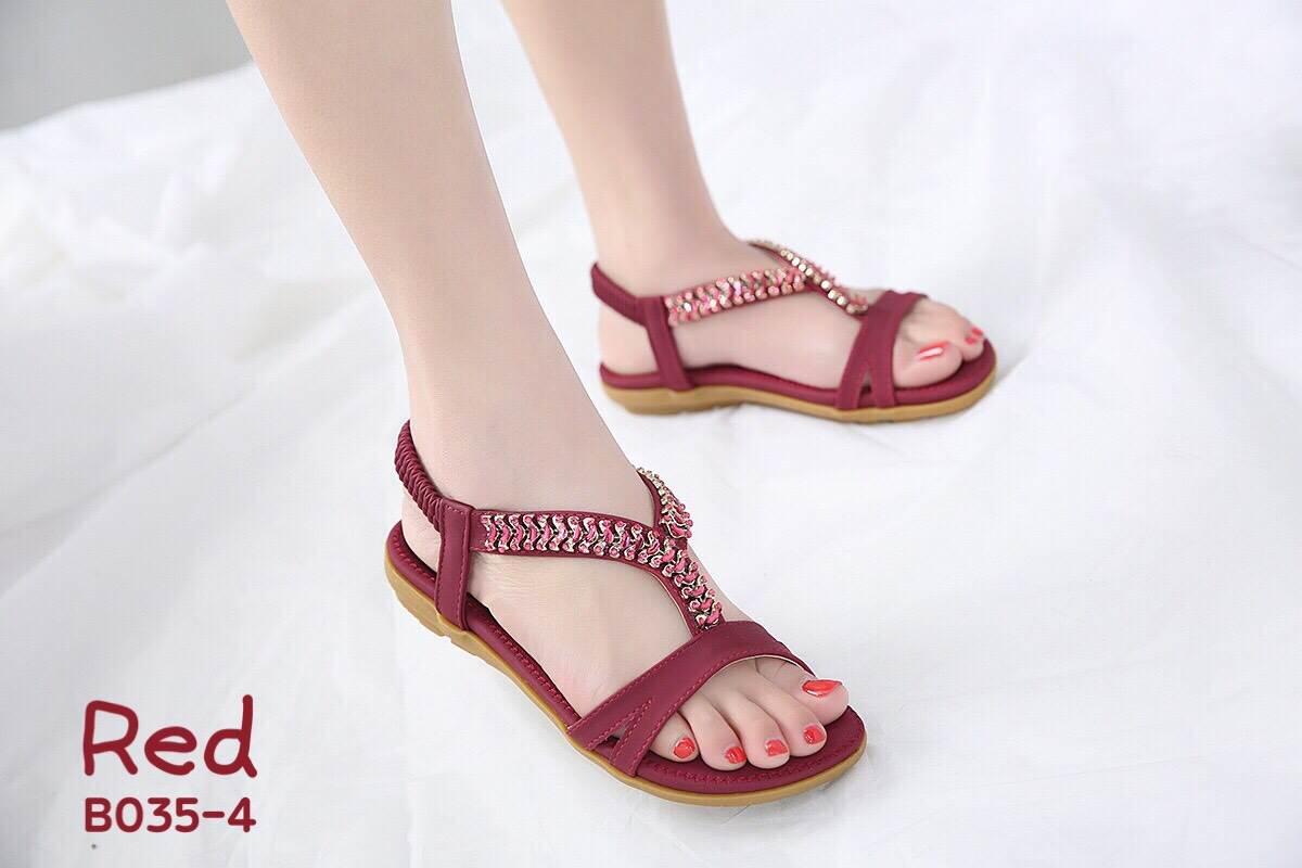 รองเท้าแฟชั่น ส้นเตารีด แบบหนีบ แต่งอะไหล่คริสตัลสวยหรู หนังนิ่ม ทรงสวย สูงประมาณ 3 นิ้ว ใส่สบาย แมทสวยได้ทุกชุด (18-2308)