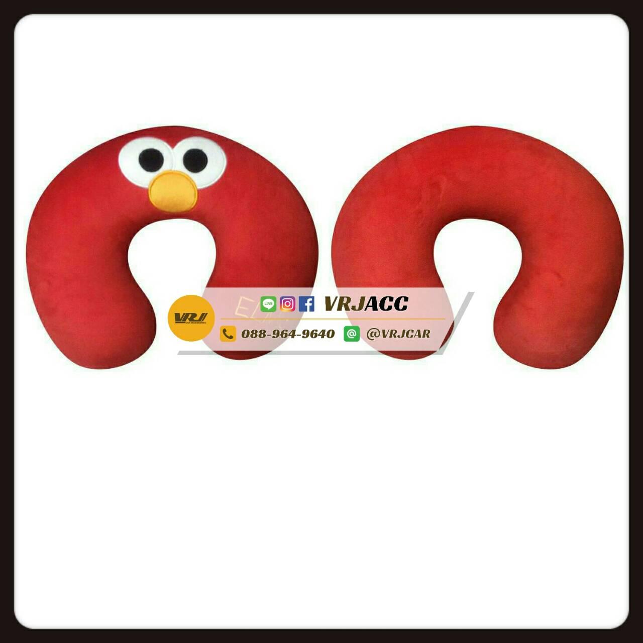 หมอนรองคอ ตัวยู คุกกี้มอนสเตอร์ เอลโม่ สีแดง Sesame Street cookie monster