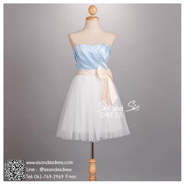 sd1075 ขาย ชุดงานหมั้น สีฟ้า ขาว สวย หวาน น่ารัก เหมาะมากๆ สำหรับเจ้าสาวตัวเล็กๆ