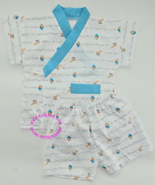 ชุดผูกหน้าแขนสั้น พร้อมกางเกงขาสั้น ลายตุ๊กตา (สีฟ้า) ยี่ห้อ PAPA