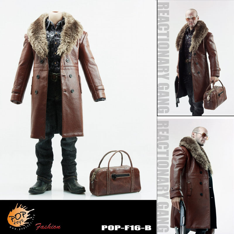 POPTOYS F16-B BROWN The Mafia style leather dress suit