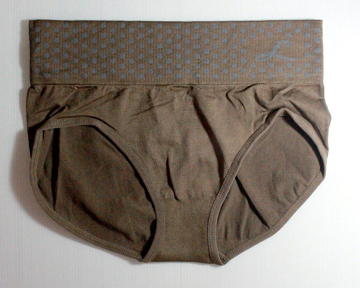 กางเกงในเอวสูง กางเกงในขอบใหญ่ L ลายจุด สีน้ำตาล