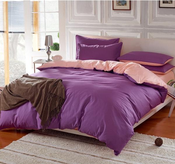 (Pre-order) ชุดผ้าปูที่นอน ปลอกหมอน ปลอกผ้าห่ม ผ้าคลุมเตียง ผ้าฝ้าย สีพื้น สีม่วง