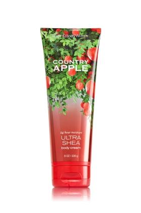 **พร้อมส่ง**Bath & Body Works Country Apple 24 Hour Moisture Ultra Shea Body Cream 226g. ครีมบำรุงผิวสุดเข้มข้น มีกลิ่นหอมติดทนนาน ด้วยกลิ่นนี้จะหอมแอปเปิ้ลผสมกลิ่นโยเกิร์ต กลิ่นคล้ายซูกัสเม็ดสีเขียว หอมหวานซ่อนเปรี้ยว น่ารักซนๆ และให้ความรู้สึกสดชื่นมากค