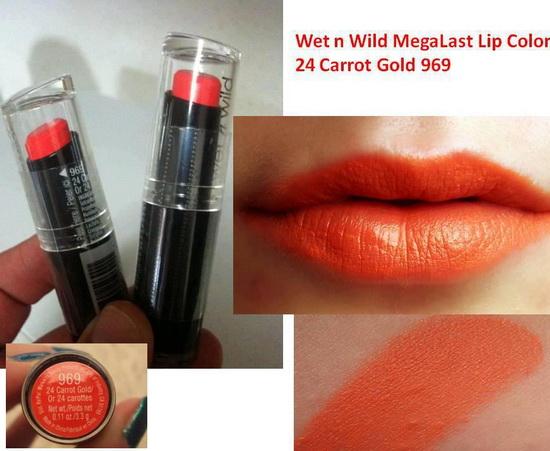 **พร้อมส่ง** Wet n Wild Mega Last Lip Color #969 24 Carrot Gold ลิปสติกเนื้อแมทสีชมพูอมส้ม เป็นลิปสติกจาก Drugstore ของอเมริกา กลบสีปากมิด ติดทนนานไม่เป็นคราบ พิกเม้นต์เกินราคา