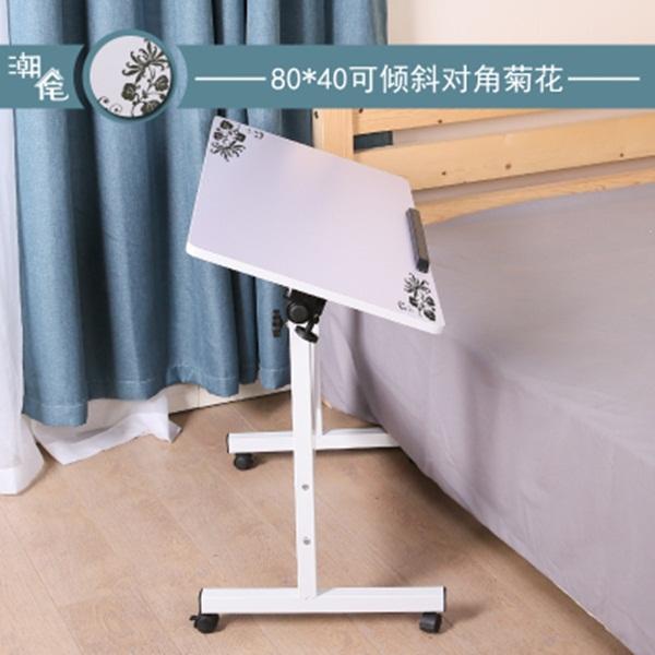 Pre-order โต๊ะทำงานปรับระดับ โต๊ะวางคอมพิวเตอร์ โต๊ะวางแล็ปท้อป แบบปรับได้ทั้งความสูงและองศามุมมอง สีขาวพิมพ์ลายดอกไม้สีดำ