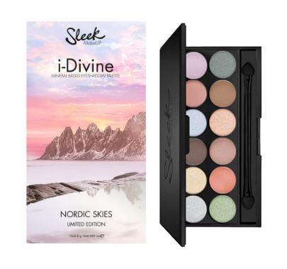 **พร้อมส่ง**Sleek i-Divine Eyeshadow Palette Nordic Skies Limited Edition พาเลทอายเชโดว์ใหม่ โทนสีหวานพาเทล รุ่นลิมิเต็ด 12 สี มีทั้งเนื้อแมทธรรมชาติและชิมเมอร์สีพาเทลสวยๆ หลายหลายโทนสี แต่งได้ง่ายเข้ากันกับทุกสไตล์การแต่งหน้า สีโทนเย็น เงินอมฟ้า ส้ม เขีย