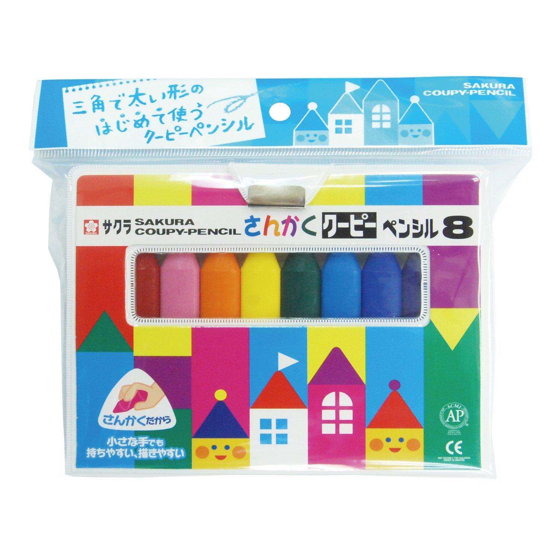 สีเทียน 8 สี แบบสามเหลี่ยม ยี่ห้อ Sakura