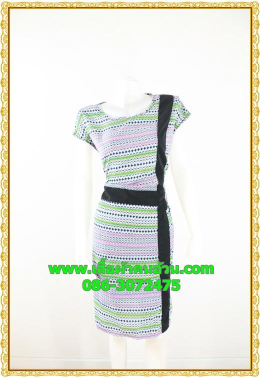 2625ชุดทํางาน เสื้อผ้าคนอ้วนลายเพ้นท์คอกลมแต่งแถบสีข้างเอวสวยหวานเบรคลายด้วยสีเขียวเรียบๆหรูอินเทรนด์