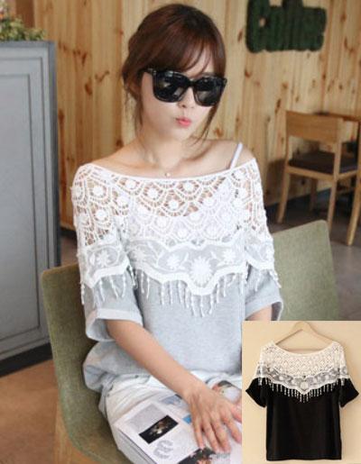เสื้อแฟชั่นแต่งไหล่ผ้าลูกไม้สีขาวแขนสั้น แบบสวยหวานสไตล์เกาหลี 2 สี รหัส 1777