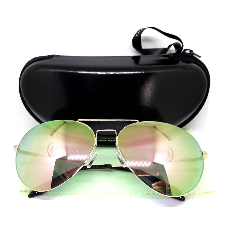 แว่นกันแดด ทรง aviator กรอบสีทอง เลนส์ปรอบอมชมพู - 14,60 สำเนา