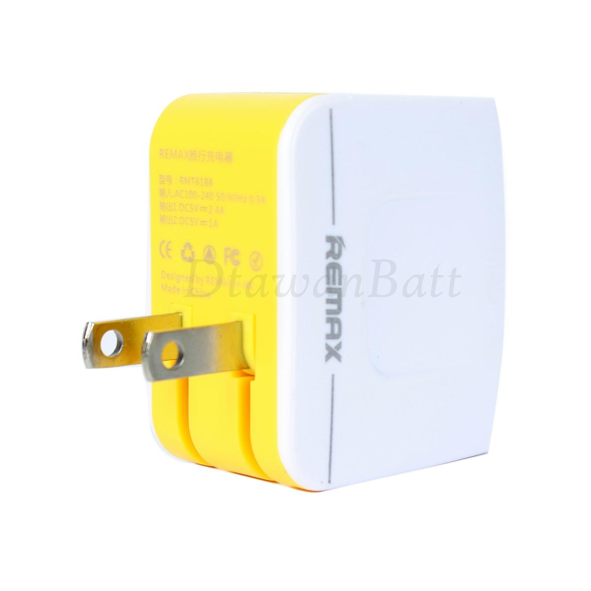 ปลั๊ก USB Remax , Adaptor USB Remax รองรับไฟสูงสุด 3.4A ของแท้ 100% (สีขาว)
