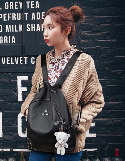 กระเป๋าหนังเทียมแฟชั่นทรงสะพายหลังสวยปนเท่ห์ สไตล์เกาหลี-B023