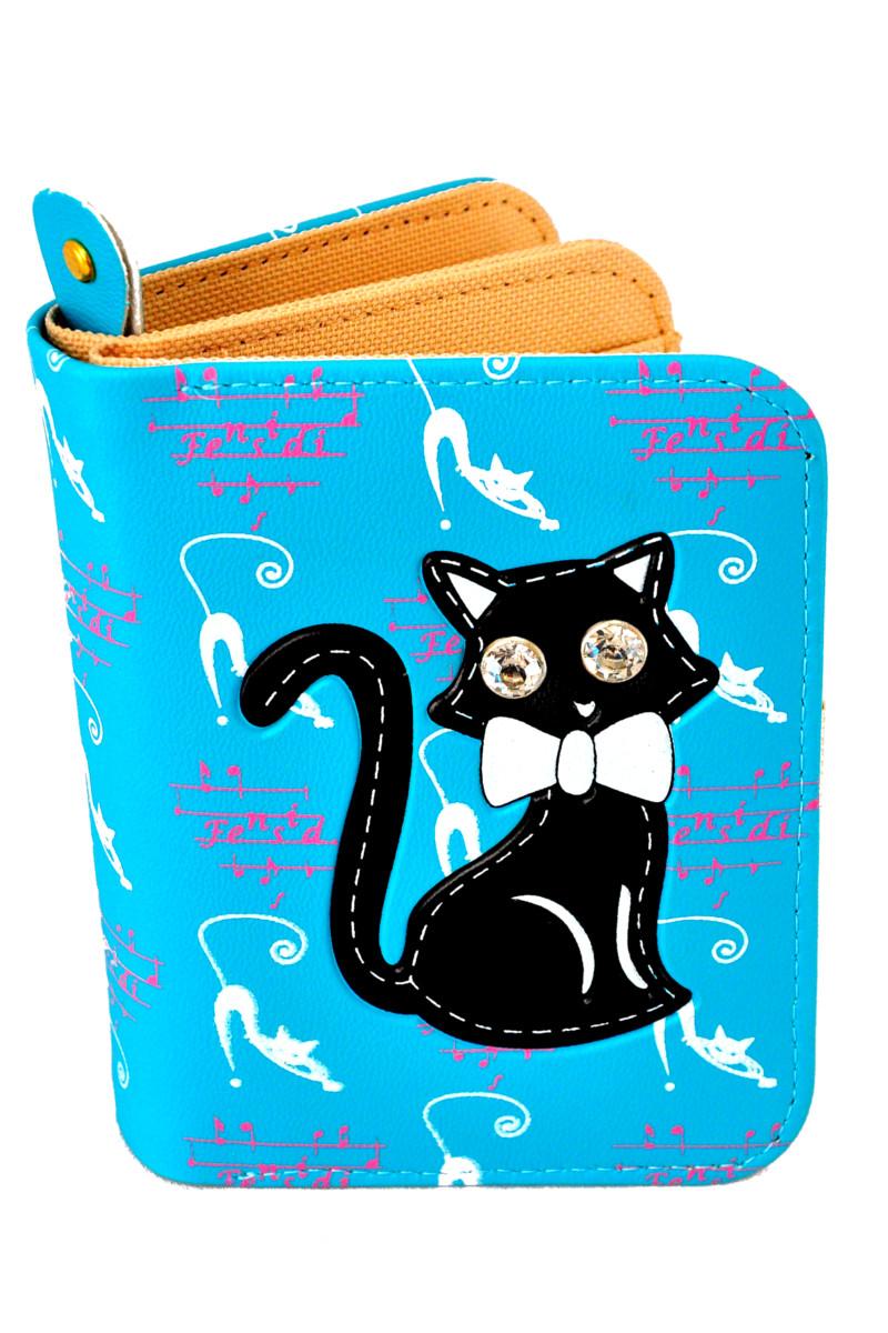 กระเป๋าสตางค์ สีฟ้า ลายแมวดำ น่ารัก ไม่เหมือนใคร