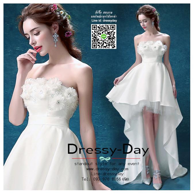รหัส ชุดราตรียาว : AN547 ชุดแซก pre wedding ชุดราตรี after party หน้าสั้นหลังยาว ประดับดอกไม้ที่ชุดเพื่มความสวยหวานให้กับผู้สวมใส่