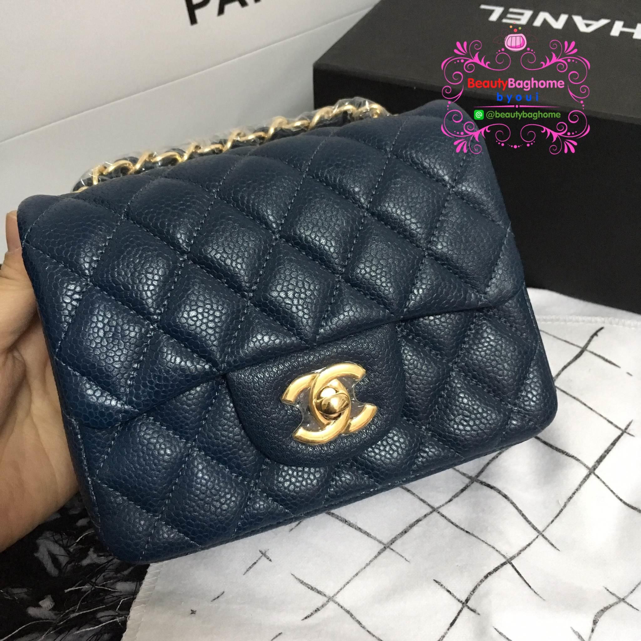 Chanel Classic Flap mini(Square) สีน้ำเงินกรม งานHiend 1:1