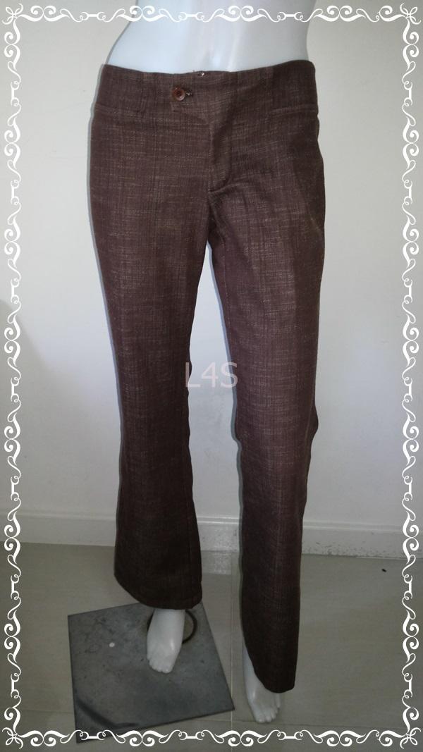 BNB1214--กางเกงผ้า สีน้ำตาลเข้ม แบรนด์เนม xact เอว 30 นิ้ว