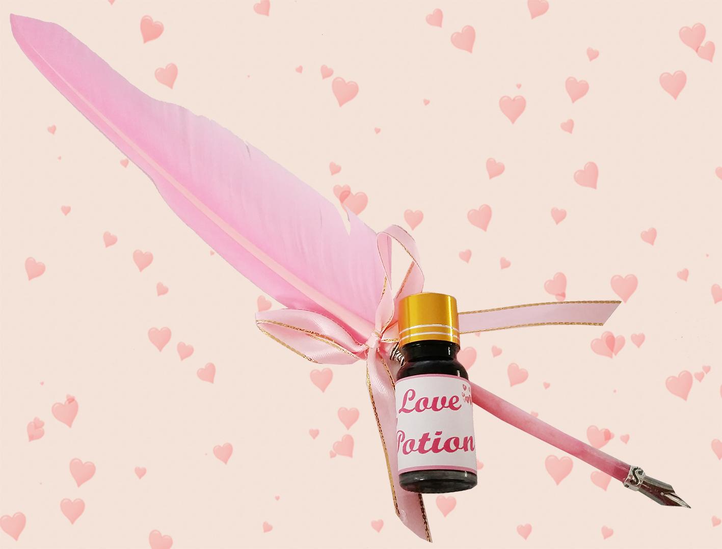 ปากกาขนนกสีชมพู แบบจุ่มหมึก Love Potion