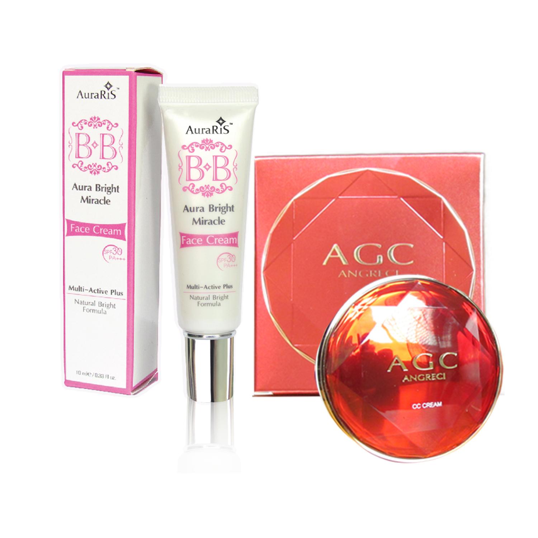 AuraRIS บีบีครีม ครีมกันแดด BB Face Cream SPF30 PA+++ - 10 ml. + AGC ซีซีครีม แป้งคุชชั่น แป้งพัฟ Cushion CC Cream Puff สวยใส เนียนฉ่ำ แบบสาวเกาหลี พร้อมรีฟิว