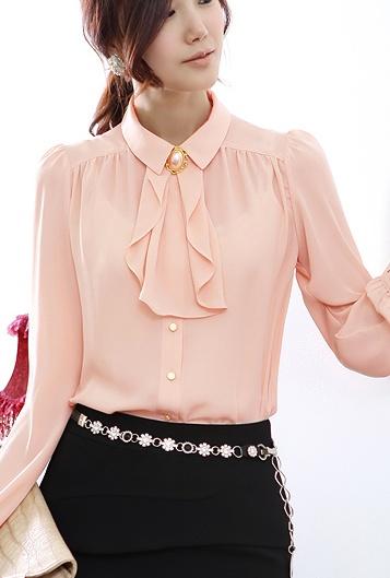 เสื้อเชิ๊ตทำงาน คอปก สีชมพู แขนยาว แต่งระบาย เรียบสวย
