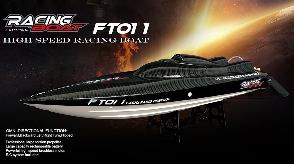 เรือบังคับไฟฟ้า FT011 Brushless RC Racing Boat Big size 65 cm เลี้ยว SERVO มีระบบระบายความร้อนด้วยน้ำ