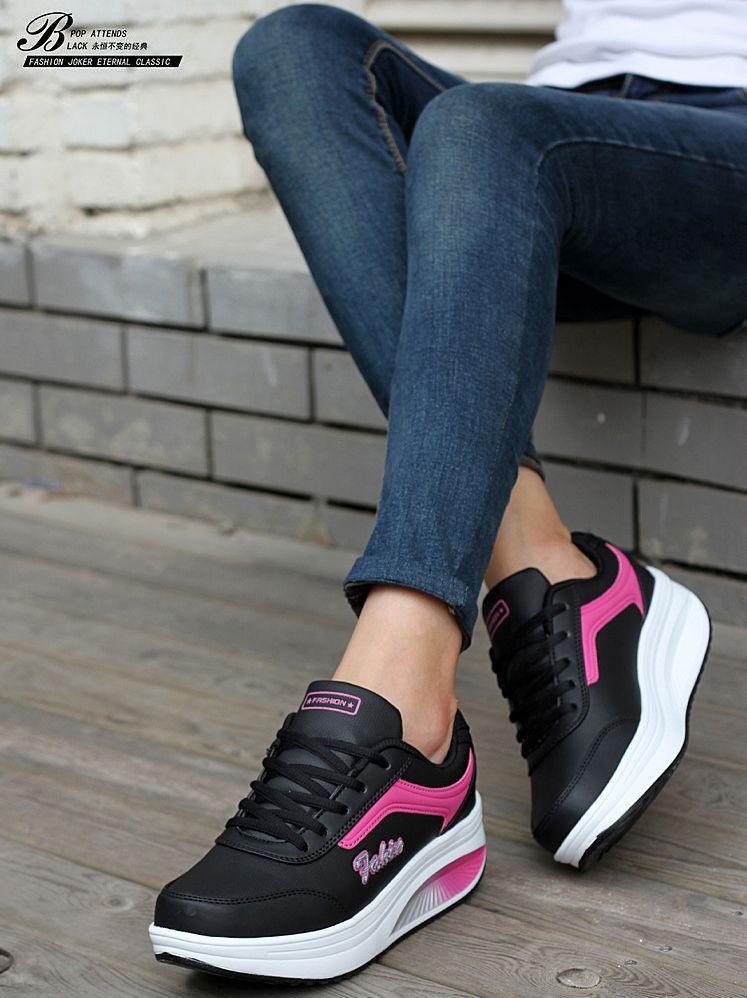 รองเท้าผ้าใบแฟชั่นเกาหลีพื้นหนา