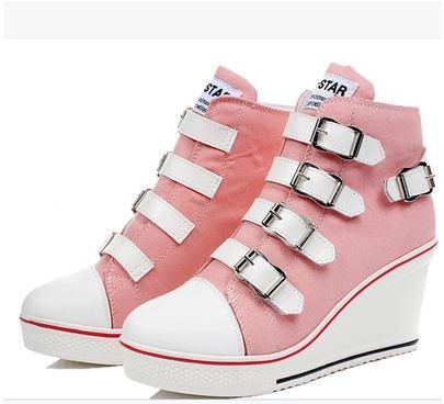 (พร้อมส่ง) รองเท้าผ้าใบหุ้มข้อแฟชั่นเกาหลีส้นสูงมีเข็มขัด