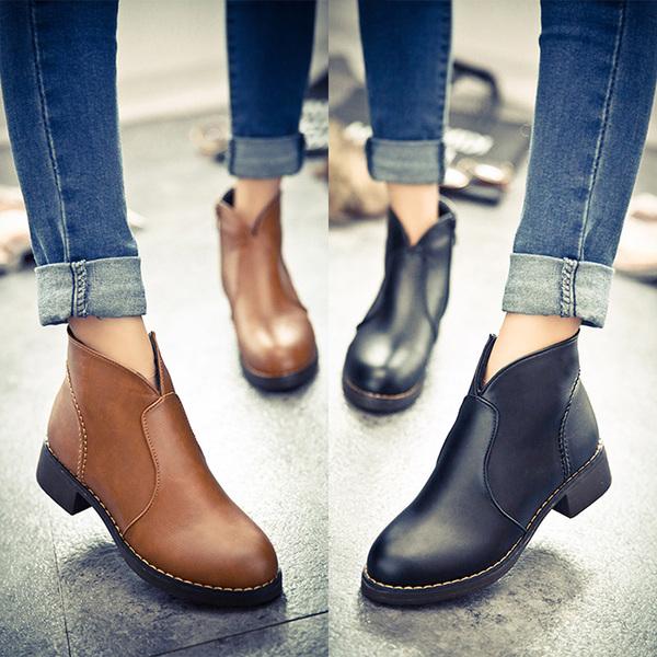 รองเท้าบูทสูง4.5cmมีซิป
