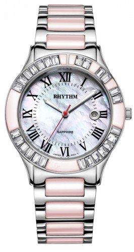 นาฬิกาผู้หญิง Rhythm รุ่น F1203T03, Sapphire Fashion Series Pink Silver F1203T-03, F1203T 03