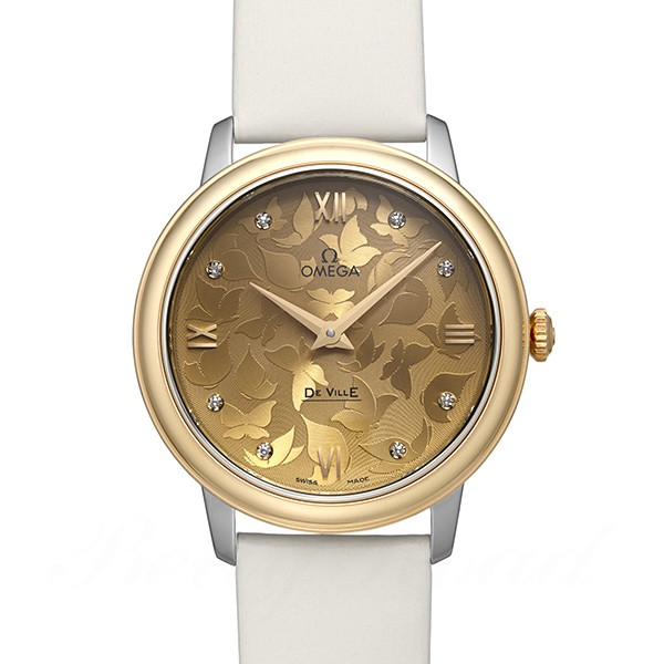 "นาฬิกาผู้หญิง Omega รุ่น 424.22.33.60.58.001, De Ville Prestige ""Butterfly"" Quartz Diamond Accent Yellow Gold"