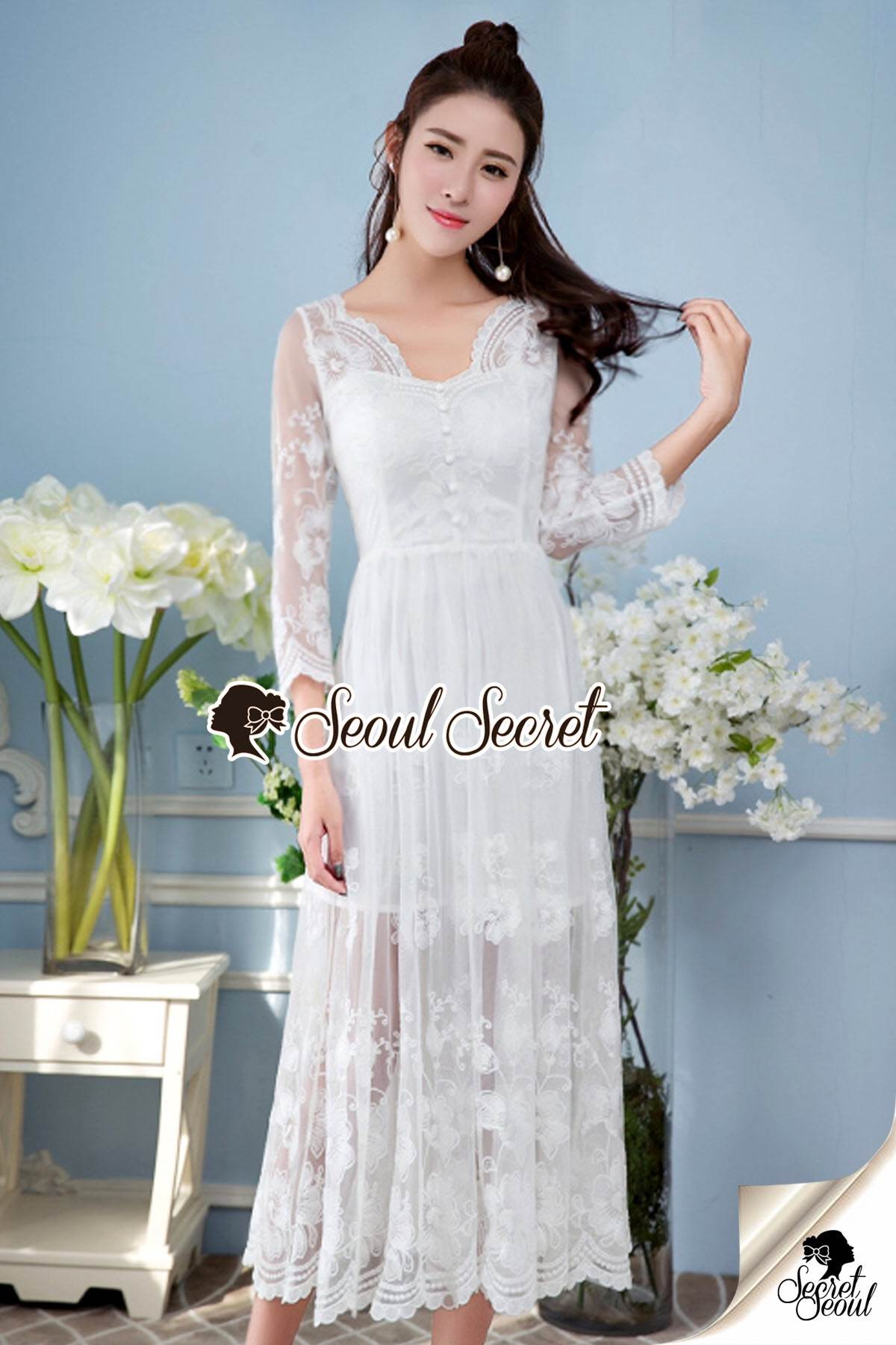 Seoul Secret Say's .... Princess Curly Netty Flora Maxi Dress