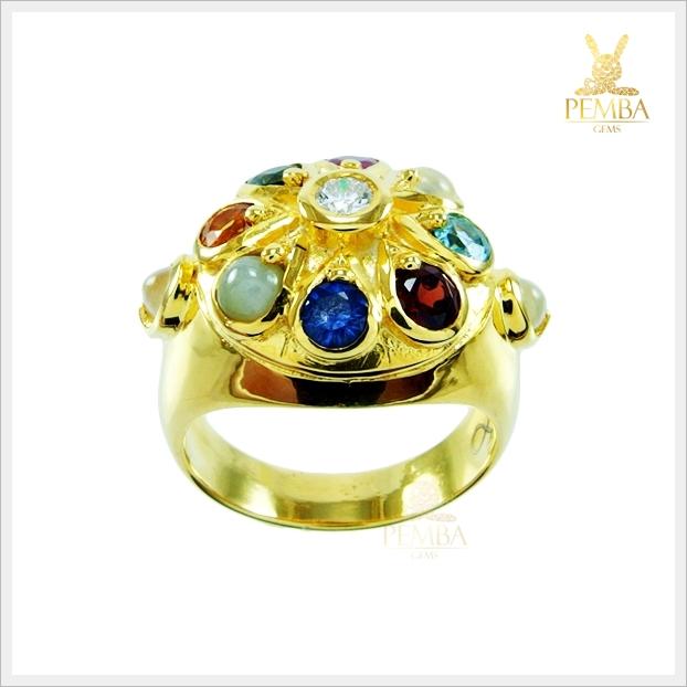 แหวนนพเก้า ตามตำราโบราณ ทองแท้ เพชรแท้ (สามารถสั่งทำได้ค่ะ)