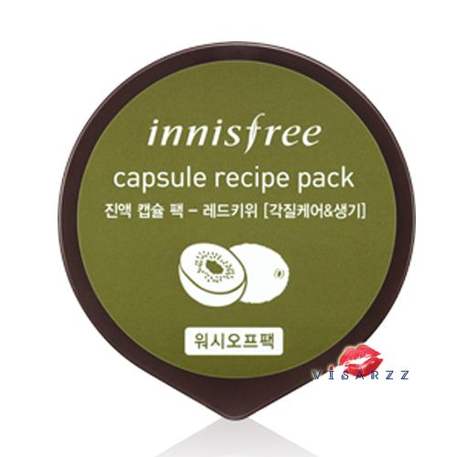 Innisfree Capsule Recipe Pack 10mL #Red Giwi มาส์กหน้าด้วยสารสกัดจากผลกีวี่แดงซึ่งช่วยขัดเซลล์ผิวที่เสื่อมสภาพและทำให้ผิวมีชีวิตชีวาขึ้น