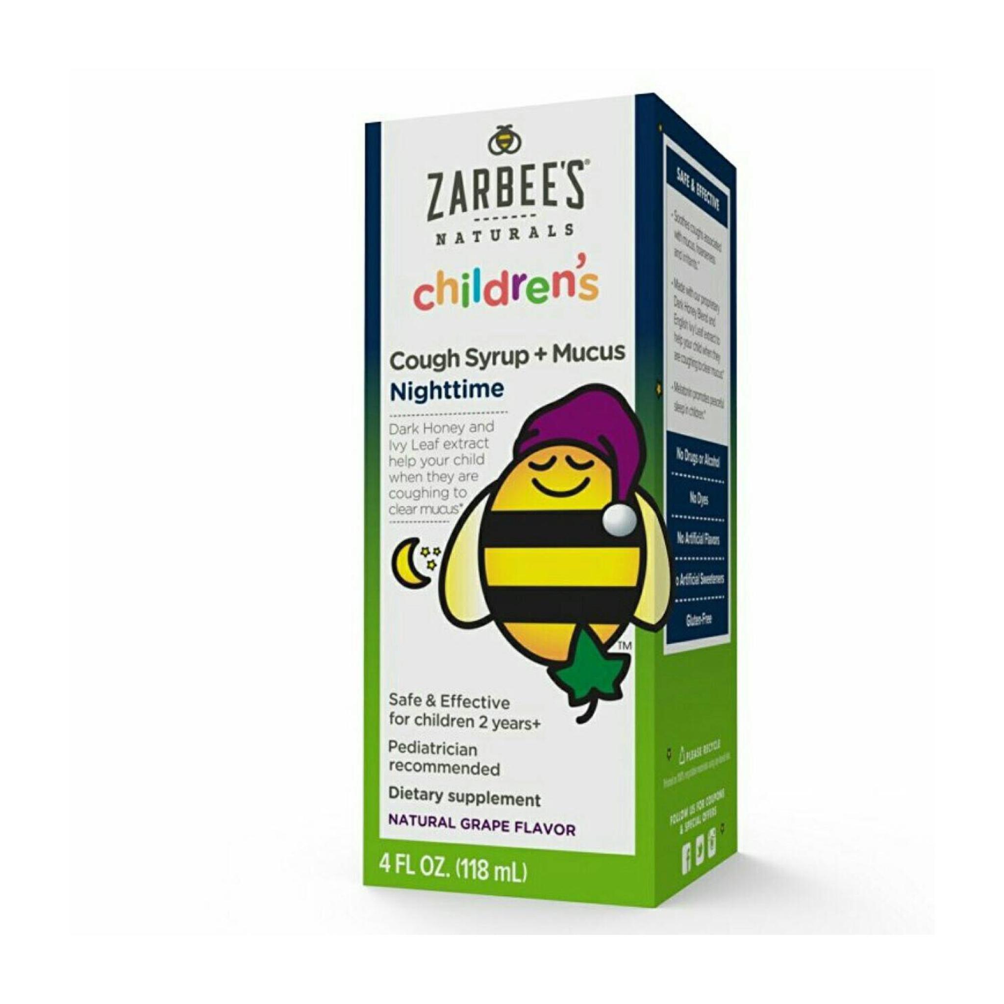 สมุนไพรบรรเทาอาการไอและลดน้ำมูกสำหรับช่วงเวลากลางคืน ZARBEE'S Naturals Children's Cough Syrup + Mucus Nighttime
