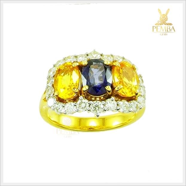 แหวนบุษราคัม ไพลิน ทองแท้ เพชรแท้(สามารถสั่งทำได้ค่ะ)