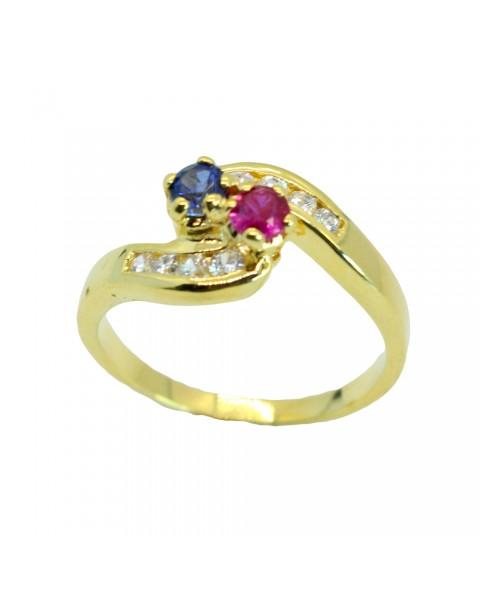 แหวนพลอยล้อมเพชร แซฟไฟร์ ทับทิม อัลลอยด์หุ้มทองคำแท้