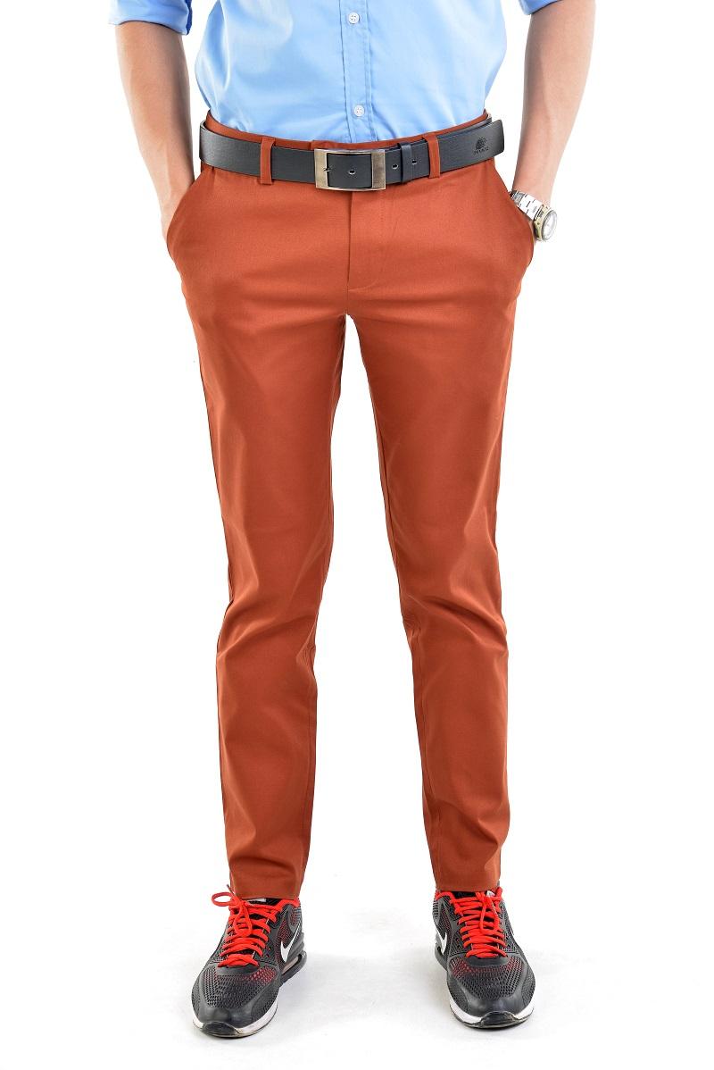กางเกงสแล็คผู้ชายสีส้มอิฐ ผ้ายืด ทรงกระบอกเล็ก
