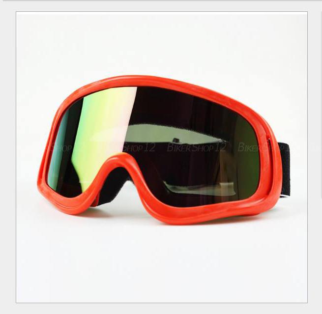แว่นวิบาก (Goggle) สีพื้นแดง เลนส์รุ้ง
