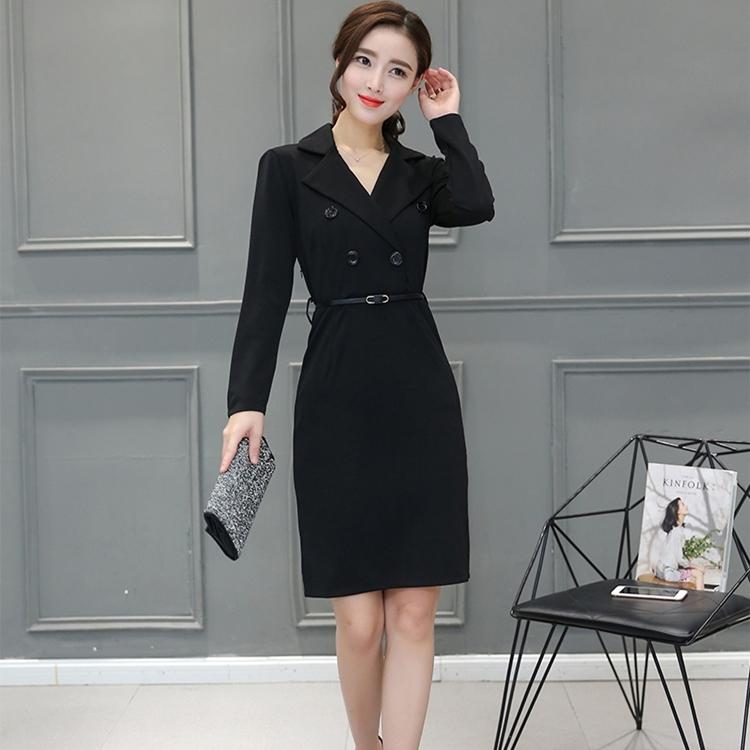 ชุดเดรสทำงานสีดำ เข้ารูป แขนยาว เรียบหรู ดูดี เป็นทางการ แนวเกาหลี สาวๆออฟฟิตห้ามพลาด