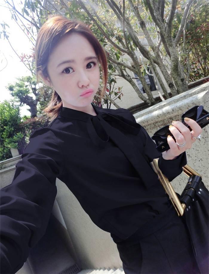 เสื้อแฟชั่น คอปีน ผูกโบว์ แขนยาว สีดำ