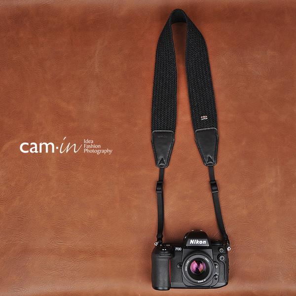 สายคล้องกล้อง cam-in Grand Black สีดำ สายเส้นใหญ่