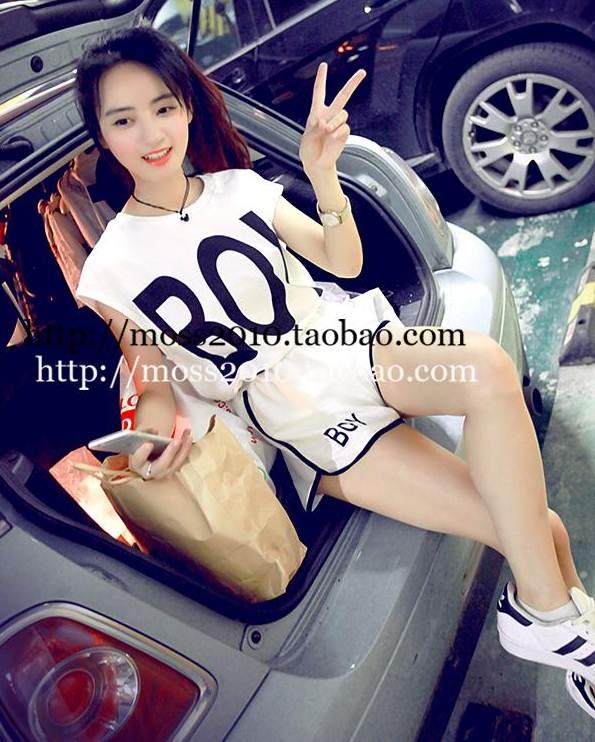 ชุดเซต 2 ชิ้น เสื้อแฟชั่น + กางเกงขาสั้น ลาย BOY สีขาว