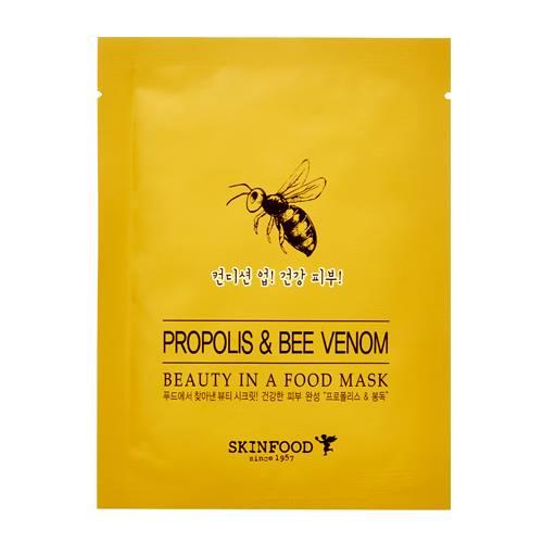 Skinfood Beauty in A Food Mask Sheet #PRTPOLIS & BEE VEENOM สารสกัดจากน้ำผึ้ง และพิษผึ้ง ช่วยให้ผิวหน้านุ่ม ชุ่มชื้น เรียบเนียน