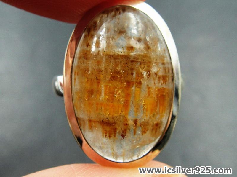 คาโคซีไนท์ Golden Cacoxenite - แหวนเงินแท้ 925 (แหวนเบอร์ : 62)